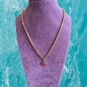 1 Piece Cherry Rhinestone Necklace