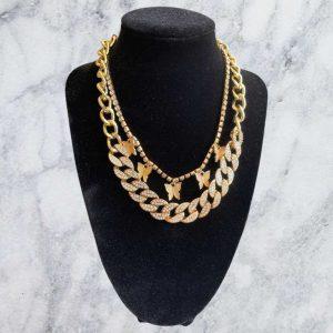 2 Piece Butter Sparkle Necklace